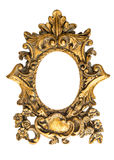 Baroque golden frame isolated on white background. Antique objec Royalty Free Stock Photo
