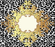Baroque golden seamless pattern over leopard or cheetah skin tit. Led background, fancy animal fur and glamorous elements, vector illustration. Luxury concept Stock Photo
