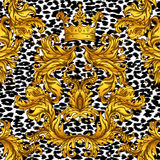 Baroque golden seamless pattern over leopard or cheetah skin tit. Led background, fancy animal fur and glamorous elements, vector illustration. Luxury concept Royalty Free Stock Photo