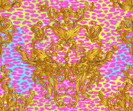 Baroque golden seamless pattern over leopard or cheetah skin tit. Led background, fancy animal fur and glamorous elements, vector illustration. Luxury concept Royalty Free Stock Photos