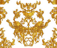Baroque golden seamless pattern over leopard or cheetah skin tit Royalty Free Stock Photo