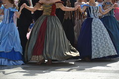 Baroque gowns in a dance Stock Photo