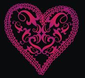 Baroque heart. Baroque motifs consisting of a black floral heart on the floor royalty free illustration