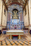 The baroque high altar in blue and gold colors inside the Santarem See Cathedral Royalty Free Stock Photo