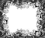 Baroque Horizontal Frame Ink Drawing Stock Image