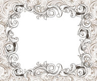 Baroque Horizontal Frame Ink Drawing Stock Photos
