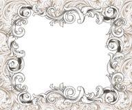 Baroque Horizontal Frame Ink Drawing Stock Photos