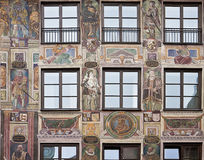 Baroque house facade decorated in forced perspective with fresco Stock Image