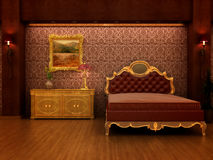 Baroque inspired hotel room. Stock Image