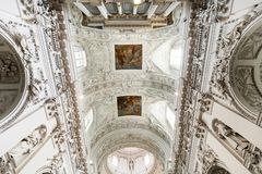 Baroque interior. Architectural style of baroque. Baroque interior details and elements. St. Peter and St. Paul Church in Vilnius Royalty Free Stock Photography