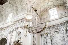 Baroque interior. Architectural style of baroque. Baroque interior details and elements. St. Peter and St. Paul Church in Vilnius Stock Photo