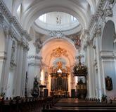 Baroque Interior of Basilica St. Salvator. Fulda, Hessen, Germay royalty free stock image
