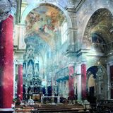Baroque interior church with stars. Divine presence concept. Royalty Free Stock Image