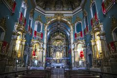 Baroque church interior, Salvador, Bahia, Brazil. Baroque interior of the Church V.O.T. do Carmo, Nave and altar, Salvador, Bahia, Brazil royalty free stock photography