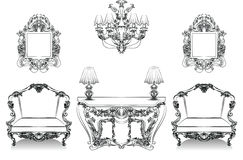 Baroque Interior collection set Royalty Free Stock Photography