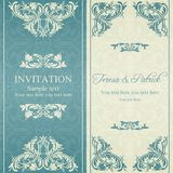 Baroque invitation, blue and beige Royalty Free Stock Photography
