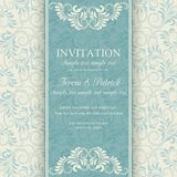 Baroque invitation, blue and beige Royalty Free Stock Image