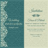 Baroque invitation, blue and beige Stock Photos
