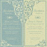 Baroque invitation, blue and beige Royalty Free Stock Photo