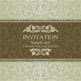 Baroque invitation, brown and beige Stock Images