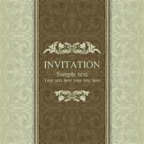 Baroque invitation, brown and beige Royalty Free Stock Photography