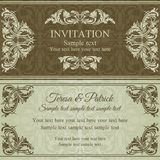 Baroque invitation, brown and beige Stock Photography