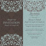 Baroque invitation, brown and blue Stock Photography