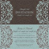 Baroque invitation, brown and blue Stock Photos