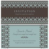 Baroque invitation, brown and blue Royalty Free Stock Images