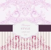 Baroque Invitation card Vector. Luxury Classic ornament. Vintage Royal Victorian texture for wedding, party, textile Stock Images