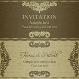 Baroque invitation, dull gold Royalty Free Stock Photo