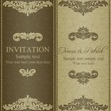 Baroque invitation, dull gold. Baroque invitation card in old-fashioned style, dull gold Stock Photos