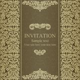 Baroque invitation, dull gold. Baroque invitation card in old-fashioned style, dull gold Royalty Free Stock Photo