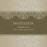 Baroque invitation, dull gold. Baroque invitation card in old-fashioned style, dull gold on beige background Royalty Free Stock Images
