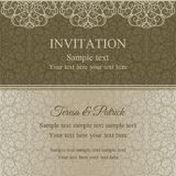 Baroque invitation, dull gold. Baroque invitation card in old-fashioned style, dull gold on beige background Royalty Free Stock Photos
