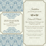 Baroque invitation, gold, blue and beige Royalty Free Stock Photography