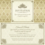 Baroque invitation, gold, brown and beige Stock Photo