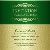 Baroque invitation, gold and green Stock Photos
