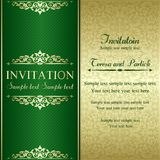 Baroque invitation, gold and green Stock Photo