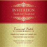 Baroque invitation, gold and red Royalty Free Stock Image