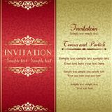 Baroque invitation, gold and red Stock Photos