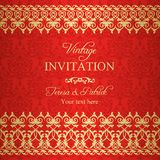 Baroque invitation, gold and red Stock Image