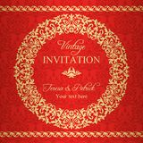 Baroque invitation, gold and red Royalty Free Stock Photos