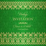Baroque invitation, green and gold Royalty Free Stock Image