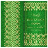 Baroque invitation, green and gold Stock Images