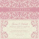 Baroque invitation, pink and beige Royalty Free Stock Images