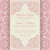 Baroque invitation, pink and beige Stock Images