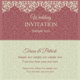 Baroque invitation, pink and beige Stock Image