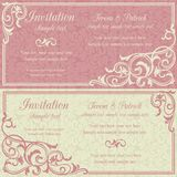 Baroque invitation, pink and beige Royalty Free Stock Photo