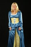 Baroque lady in blue dress Royalty Free Stock Image
